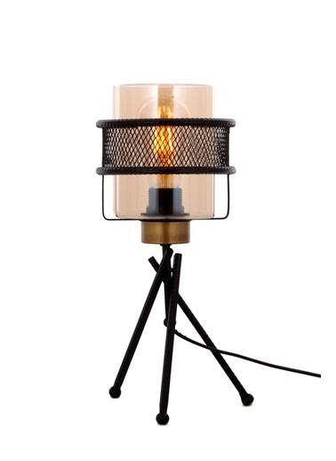 Avonni  ML-65061-1BSY Eskitme/Siyah Kaplama Masa Lambası E27 Metal Cam 20cm Bakır